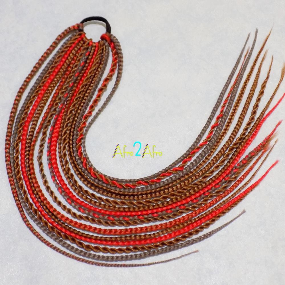 афрорезинка для афрохвоста натуральный и красный цвет